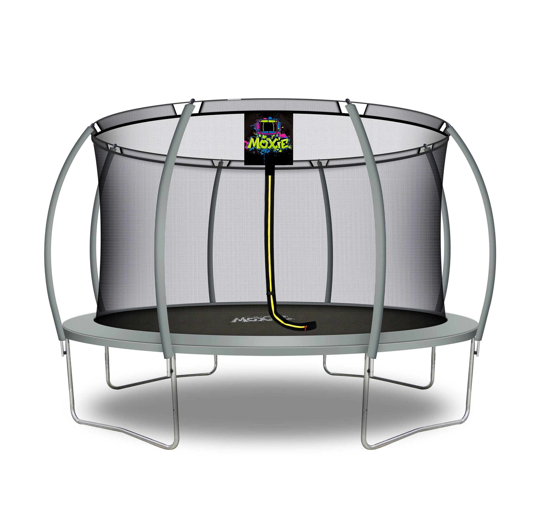 Citruille Trampoline de Jardin et d'Extérieur avec Filet de Sécurité - 427 cm - Gris   Moxie