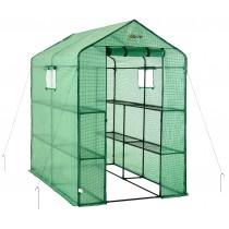 Mini Serre de Jardin | Tente Abri pour Légume, Plantes en Polyéthylène Vert | 8 Étagères | 124 x 188 x 190 cm