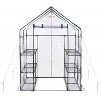 Mini Serre de Jardin | Tente Abri pour Légume, Plantes en PVC Transparent | 12 Étagères | 143 x 143 x 195 cm
