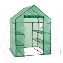 Mini Serre de Jardin | Tente Abri pour Légume, Plantes en Polyéthylène Vert | 8 Étagères | 143 x 143 x 195 cm