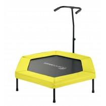 Mini Trampoline de Fitness Hexagonal 127 cm avec Poignée pour Sport, Gym, Intérieur   Jaune